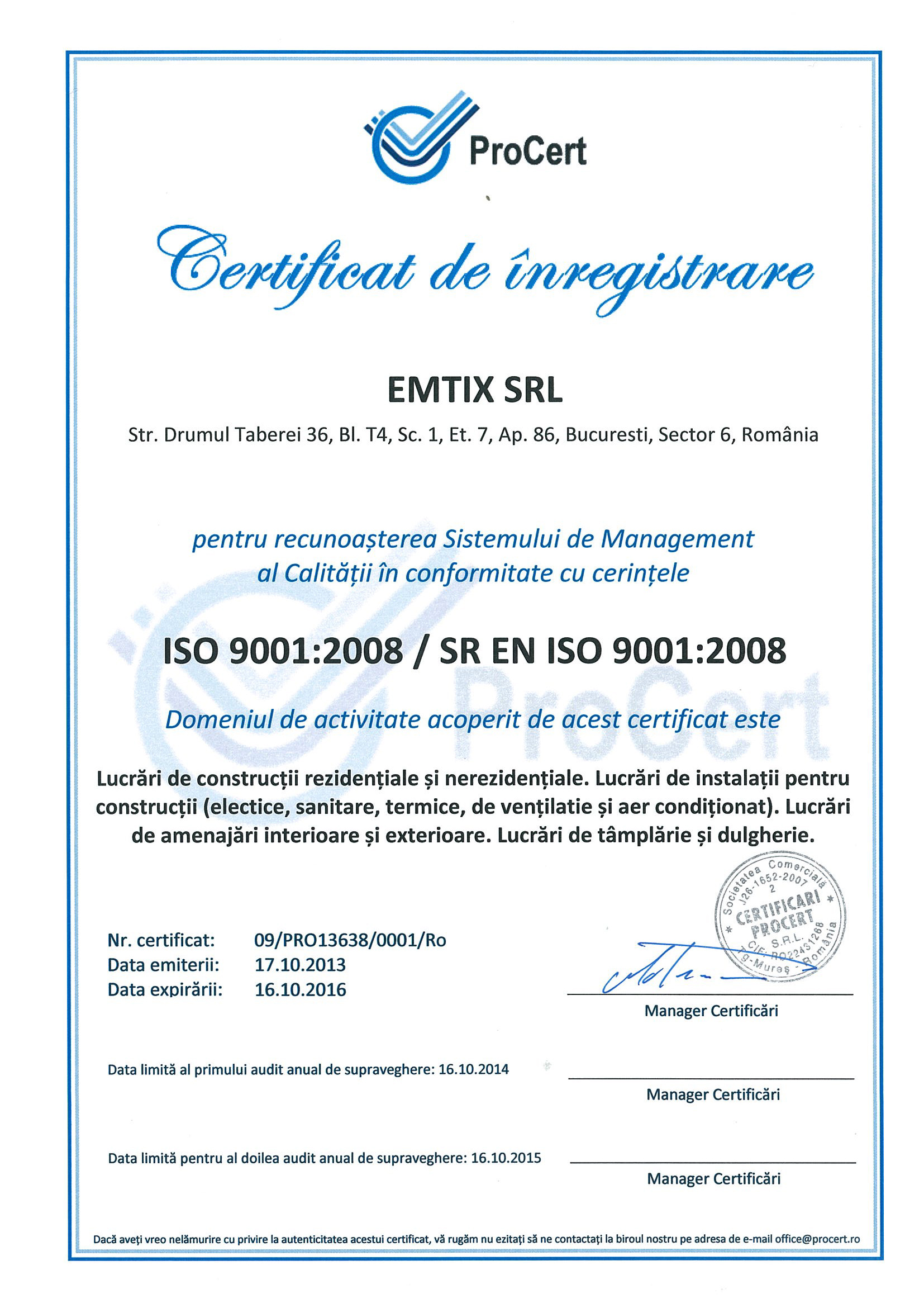 ISO-9001-ISO-14001-ISO-10845---EMTIX-SRL Page 1